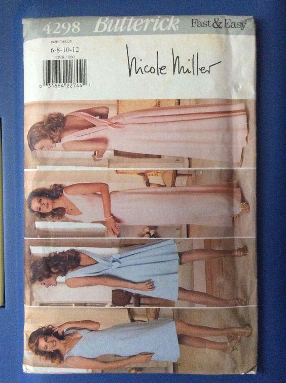 New Vintage Butterick Pattern 4298 Size 6,8,10,12 Misses Dress Gown Wedding Easy  | eBay