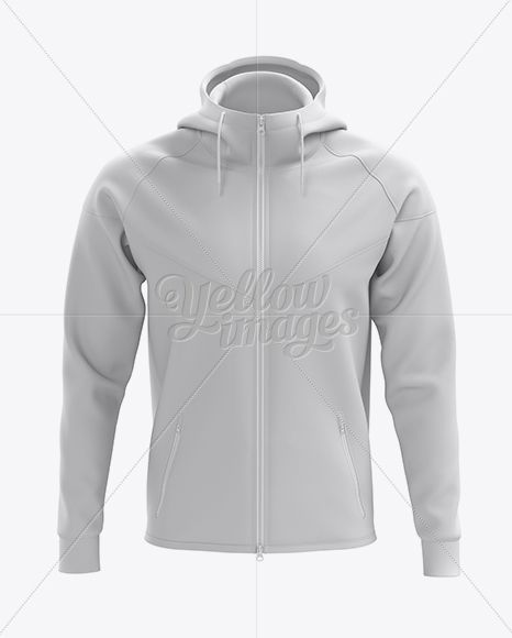 Hoodie With Zipper Mockup Front View In Apparel Mockups On Yellow Images Object Mockups Clothing Mockup Hoodie Mockup Mens Training