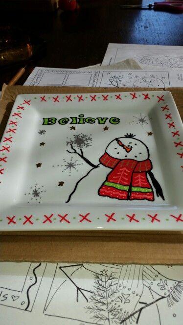 Painted Christmas dish