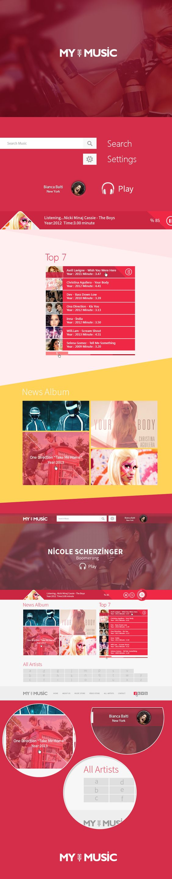 MY MUSIC web site concept by Fatih Ocak *** #web #design #behance