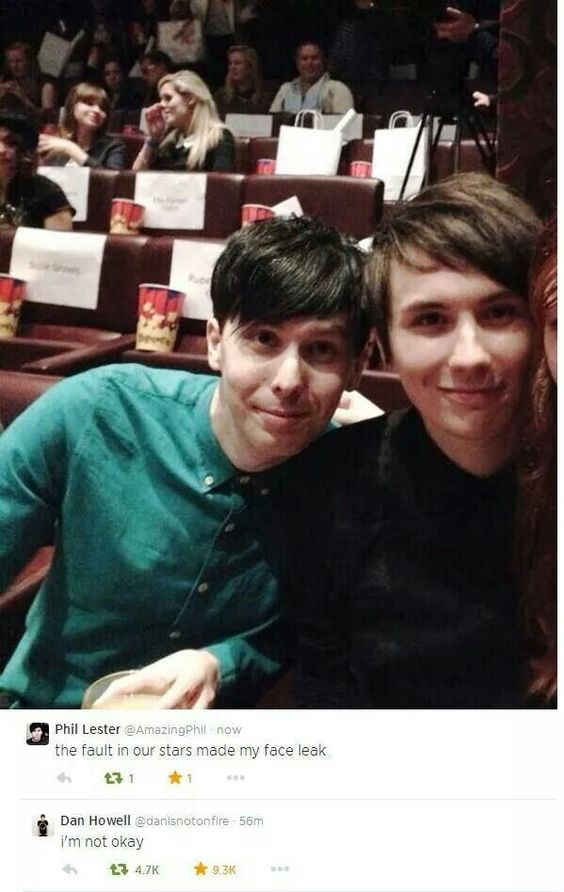 Phan about to watch TFIOS... Aww. and Dan cried more than Phil... I just squeaked so hard my dog ran over to see what was wrong... Over whelmed with cuteness