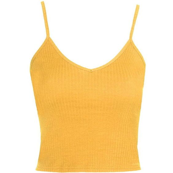 TOPSHOP Ribbed Cropped Cami ($10) ❤ liked on Polyvore featuring tops, crop tops, topshop, shirts, tank tops, mustard, cropped cami, crop tank top, yellow shirt and crop shirts