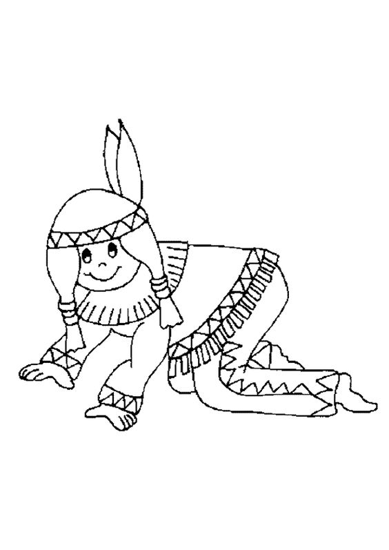 Image colorier d une petite fille indienne coloriages - Coloriage d une fille ...