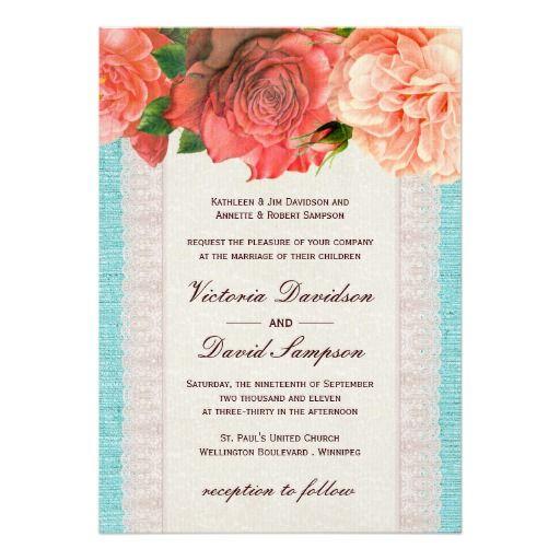 Shabby Chic Floral Wedding Invitation