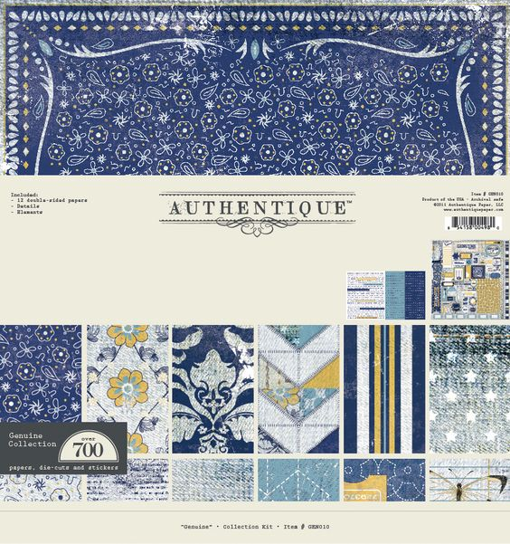 """Collection Kit from Authentique Paper's new denim-inspired """"Genuine"""" collection."""