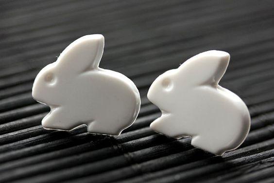White Bunny Earrings. Easter Bunny Earrings. White Rabbit Earrings. Post Earrings. Easter Earrings. Stud Earrings.Handmade Jewelry. by StumblingOnSainthood from Stumbling On Sainthood. Find it now at http://ift.tt/1pBbtXv!