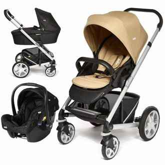 Joie Chrome Plus Silver Frame 3in1 Travel System-Sand !Free Carrycot Worth £100! 0