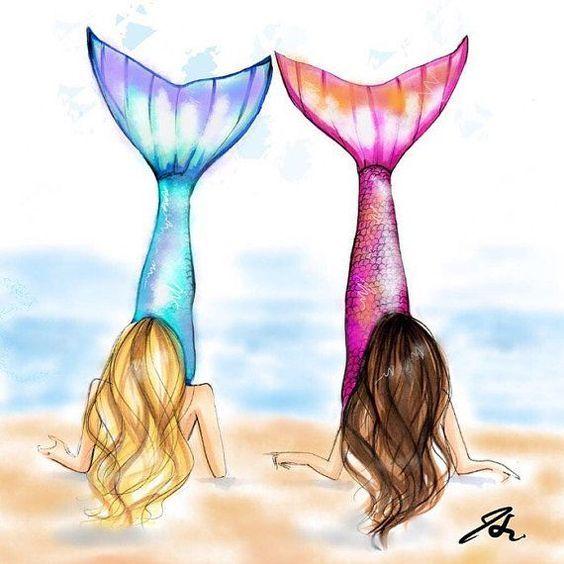 Resultado De Imagen Para Dibujos Kawaii De Mejores Amigas Sirenas Mejores Amigas Dibujo Dibujos Kawaii Sirenas
