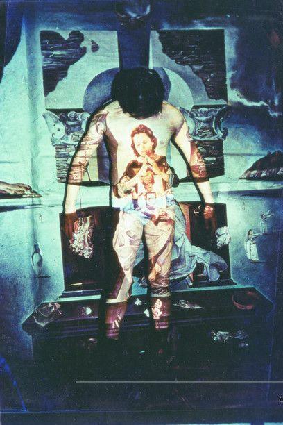 Lin Jiahua, Projection Performance, 1986, performance, slide projector, human…