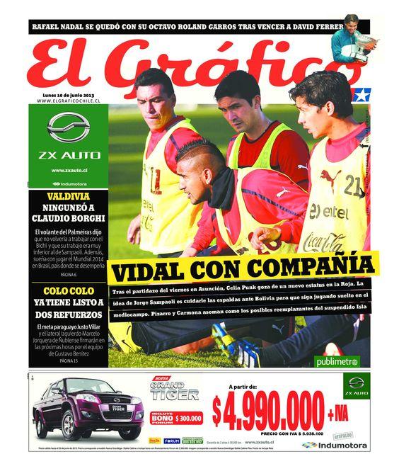 Aún no es tarde para compartir la portada del diario El Gráfico del 10 de junio de 2013. Revisa la edición completa en www.elgraficochile.cl