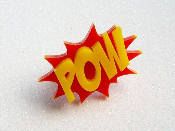Comic Book Ring POW Red and Yellow Laser Cut by GlitterbombUK, £7.00
