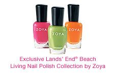 Looking for a pretty polish to go with that new Lands' End Swimsuit? Check out the Zoya nail polish collection.