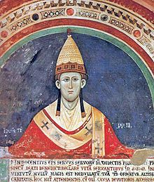 Pope Innocent III (1198–1216) in early papal tiara, Fresco at the cloister Sacro Speco, about 1219.