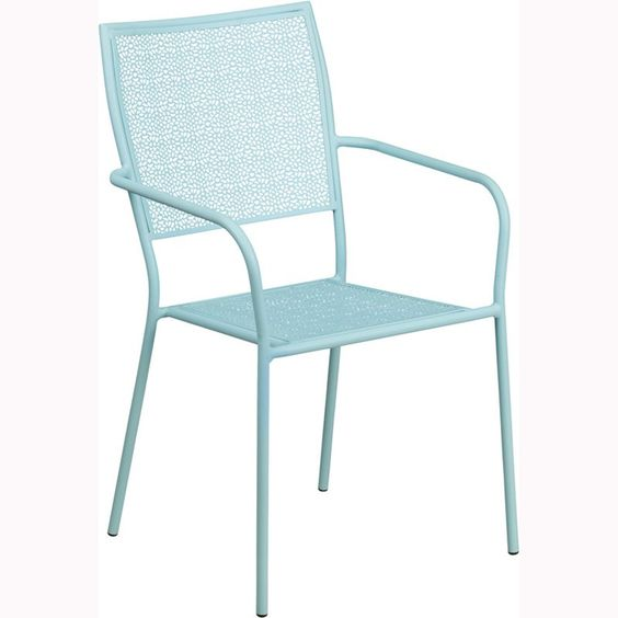 Outdoor Flash Furniture Steel Patio Dining Chair with Square Back