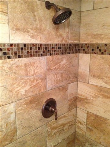 Stand Up Shower 12x24 Brick Set With 1x1 Glass Tile