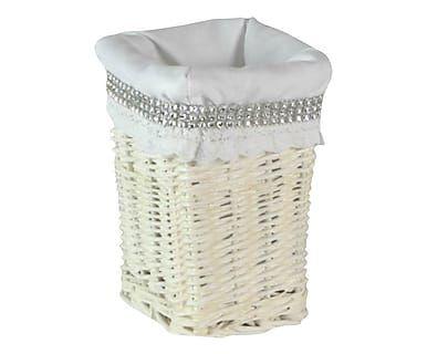 Portabaguette foderato in vimini bianco, 98x47x24 cm