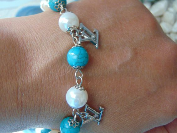 Mother of pearl rozario bracelet/howlite rozario bracelet/charms LV or CC inspired rozario bracelet/turquoise rozario bracelet/gift for her by AndyCollectionJewels on Etsy