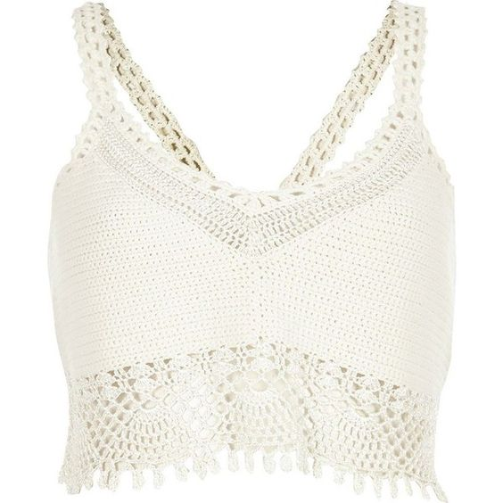 River Island White crochet bralet top (£49) ❤ liked on Polyvore featuring tops, crop tops, shirts, tank tops, crop tops / bralets, white, women, crochet crop top, white bralette tops and white crop shirt