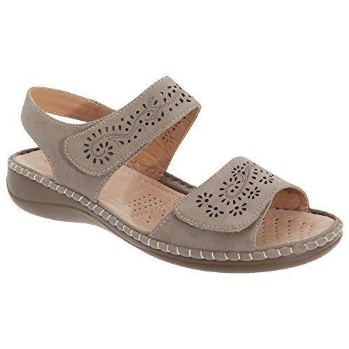 Boulevard Damen Sandale mit Klettverschluss (40 EUR) (Steinfarben) - http://on-line-kaufen.de/boulevard-apparel-group/40-eu-boulevard-damen-sandale-mit-5