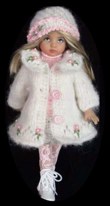 Handknit Mohair Coat,dress set made for Effner little darling dolls: