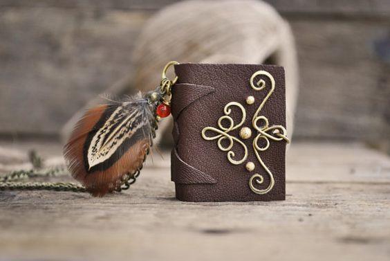 Miniature book brass necklace Book necklace Tiny por twistedByAna