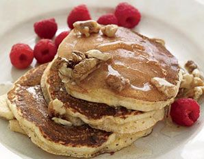 Banana Pancakes with Walnut Honey - from the Flat Belly Diet! Cookbook from Prevention Magazine.