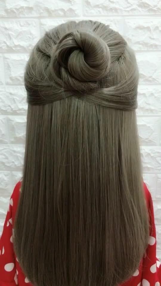 Tutorial For You Tiktok Global Video Community Girls Hairstyles Easy Easy Hairstyle Video Half Bun Hairstyles