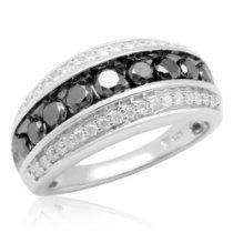 10k White Gold Black and White Diamond Anniversary Ring (1.00 cttw, I-J Color, I3 Clarity)