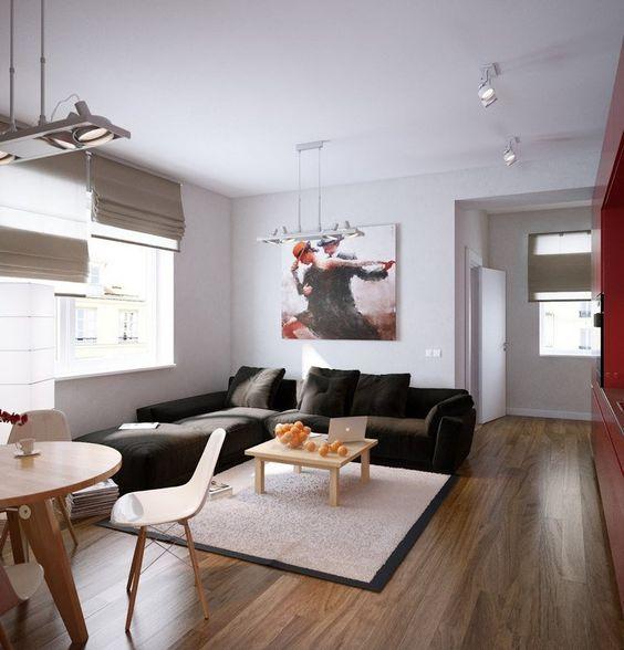 canap dangle dans le salon moderne avec sol en parquet bois et tableau moderne - Salon Moderne Bois
