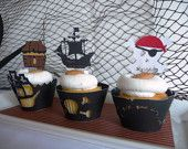 NEW Pirate Cupcake Toppers Set of 12. $9.00, via Etsy.