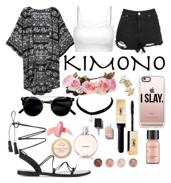 """""""The  cochella Kimono"""" by viola-scarlett-yt ❤ liked on Polyvore featuring Casetify, Topshop, Perricone MD, Elizabeth Arden, Chanel, Terre Mère and kimonos"""