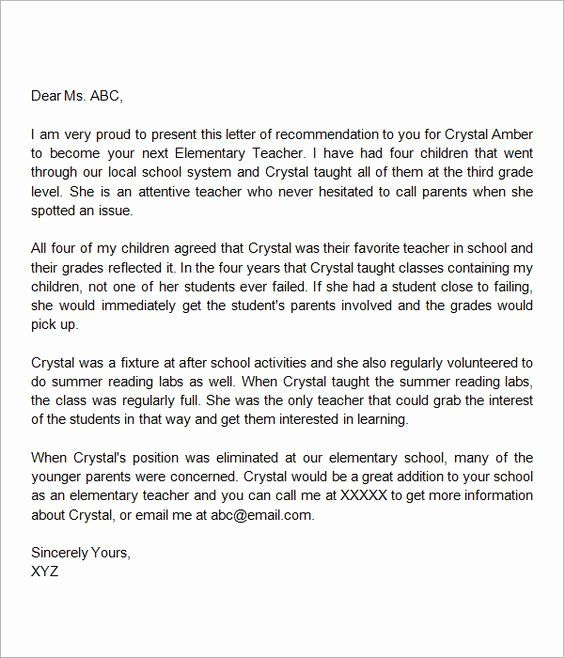 Teaching Letter Of Recommendation Template Inspirational Letter