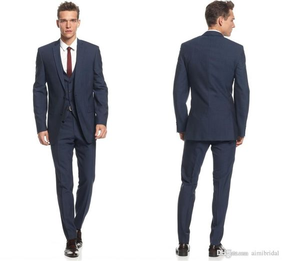 Midnight Blue Slim Fit Suits for Grooms 2017 Top Quality Handmade