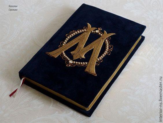 Купить Именной мужской бархатный ежедневник с буквой М - темно-синий, ежедневник