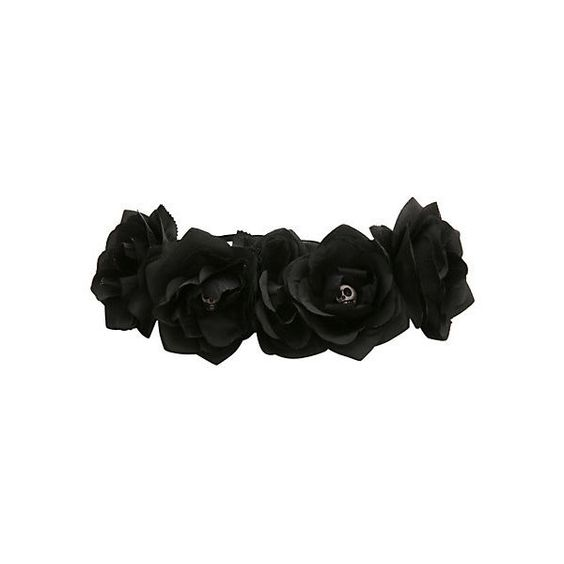 Black Rose Day Of The Dead Stretchy Headband   Hot Topic (€9,47) ❤ liked on Polyvore featuring accessories, hair accessories, fillers, flower crown, gothic, hair stuff, rose hair accessories, floral crown headband, floral garland and hair band headband