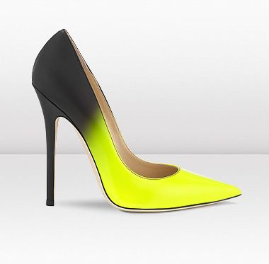 Jimmy Choo - Anouk - Neon Yellow Patent with Matt Black Degrade ...
