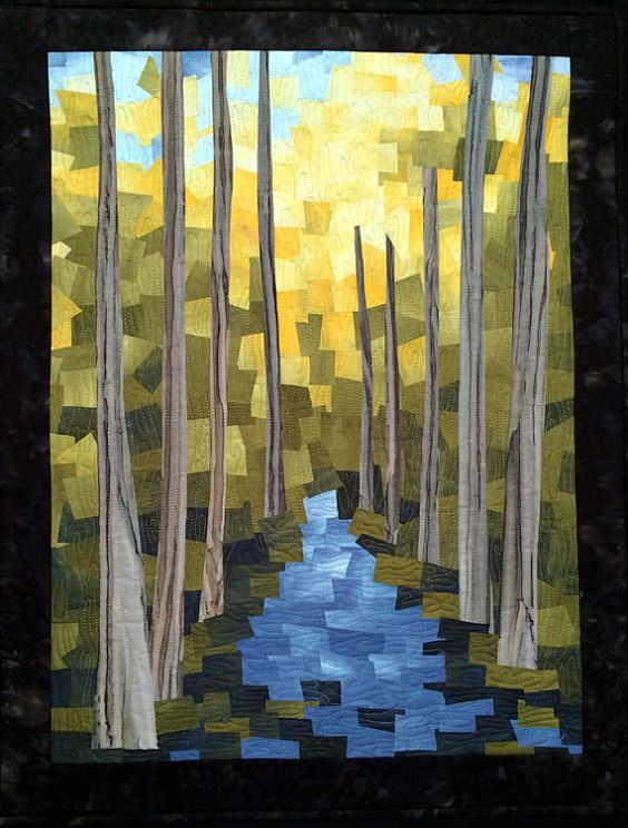 Before the Fire by Marjan Kluepfel. Art quilt.
