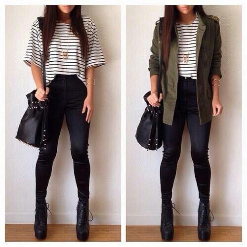 Outfit para Adolescentes. Rayas + Chaqueta Militar