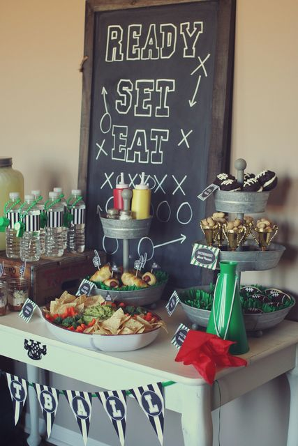 Super Bowl Football Party: loe use of the easter grass and little trophy cups for nuts: