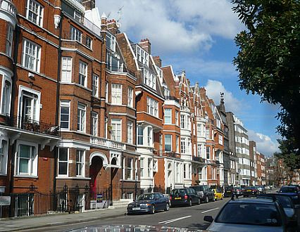 A typical street in Chelsea, London.