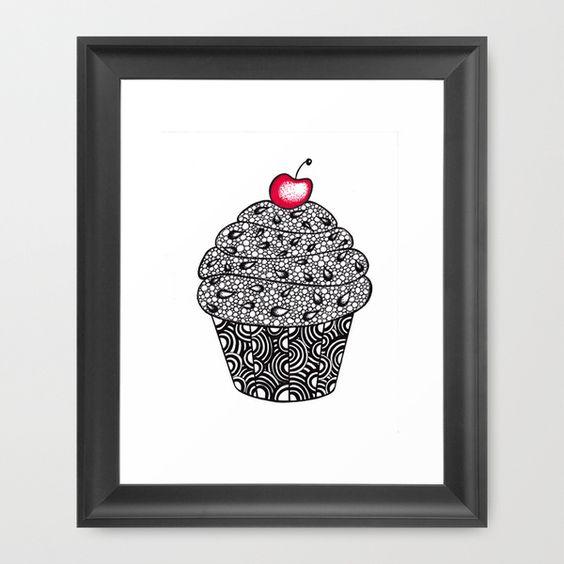 Cupcake Illustration, Zendoodle Style Framed Art Print