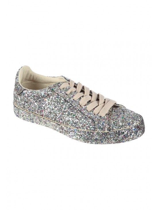 Womens Silver Glitter Trainers