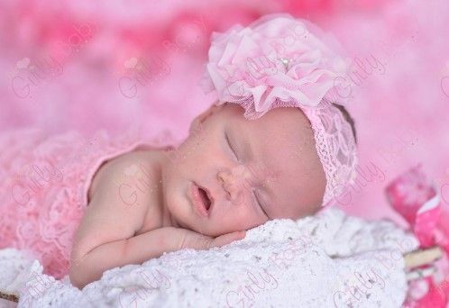 Pink Lace Pearl Chiffon Flower Infant Headband