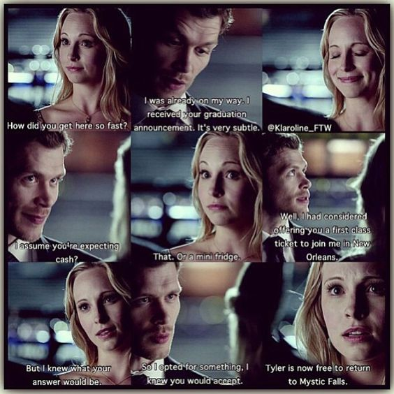 And that is y those two must be together, cause at the end of the day, Klaus would do anything for Caroline and she is starting to show some form of liking.