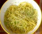 Spaghetti with Green Tomatoes from Mario Batali. This is a fantastic fast warm weather favorite. I even sneak it in during the winter because I just crave it. Enjoy!!