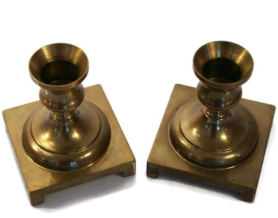 New to Revendeur on Etsy: Set of Two (2) Vintage Brass Candle Holders - Square Base - Holder - Wilton Brass Company - Bohemian Decor - Boho Chic (20.00 USD)