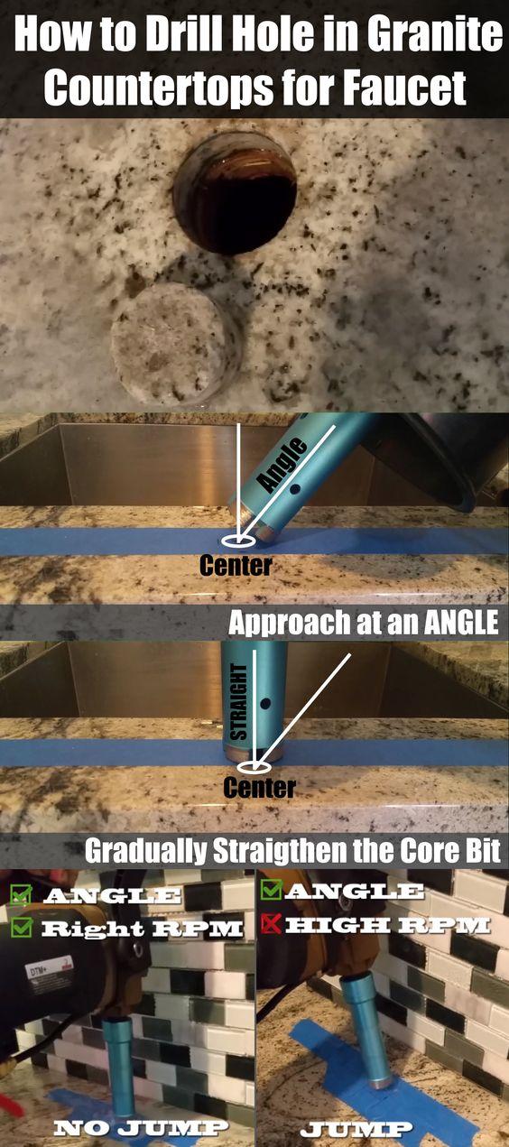 How To Drill Hole In Granite Concrete Countertops Tiles For Faucet Countertops Concrete Countertops Granite