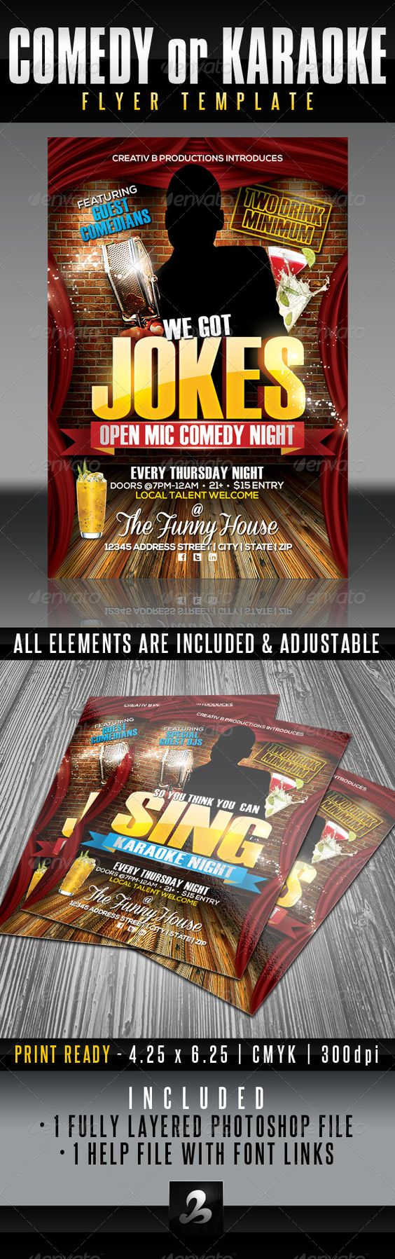 comedy night flyer template band banners fonts and flyer template comedy night flyer template graphicriver use this flyer and or invitation template for any