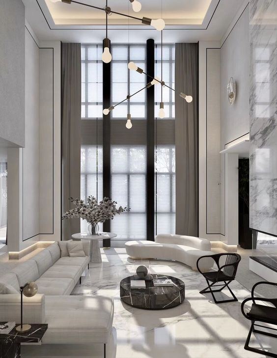 Check Our Selection Of Luxury Lighting Fixtures To Get Inspired And Get The Best Decor Id High Ceiling Living Room Luxury Living Room Living Room Design Modern