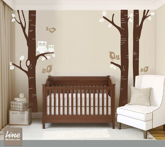 Birch tree decal nursery children wall decal wall sticker - Stickers chambre bebe arbre ...